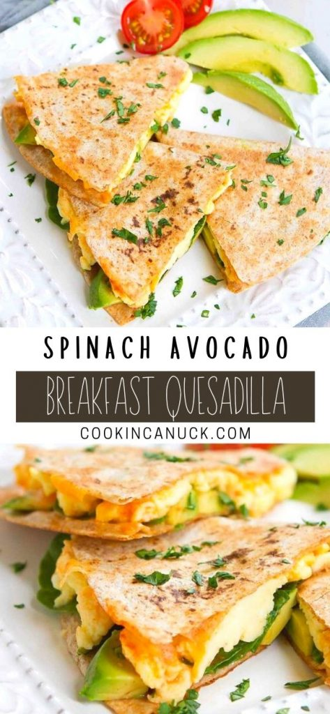 This breakfast quesadilla, filled with eggs, avocado, spinach and cheese, is a favorite around here. Great for brunch or quick breakfasts. 238 calories and 4 Weight Watchers SP