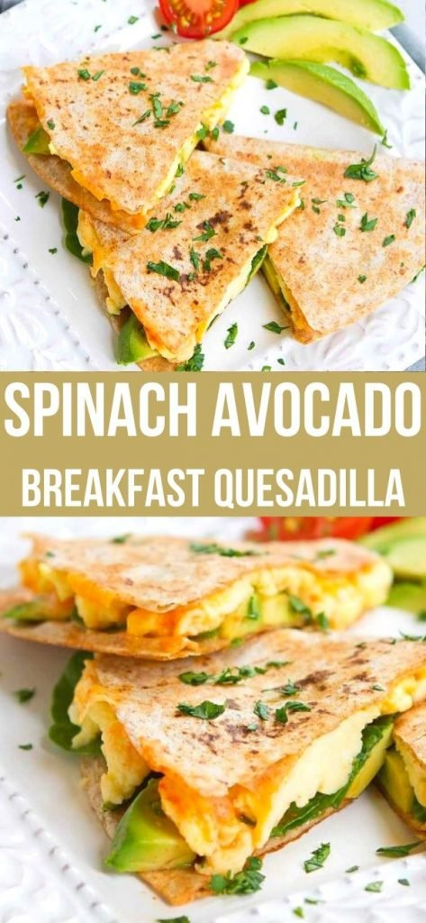 Kick off your day with an Egg and Avocado Breakfast Quesadilla. Easy, healthy and beyond delicious! Full of protein and healthy fats, too. 238 calories and 5 Weight Watchers SP | Brunch | Spinach | Tortilla | Cheese