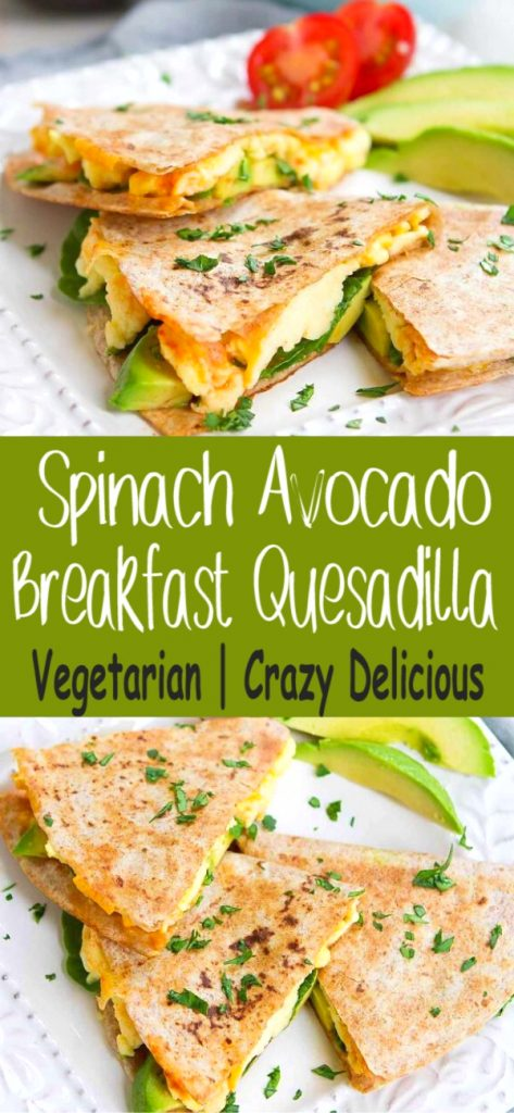 Kick off your day with an Egg and Avocado Breakfast Quesadilla. Easy, healthy and beyond delicious! Full of protein and healthy fats, too. 238 calories and 4 Weight Watchers SP | Brunch | Spinach | Tortilla | Cheese