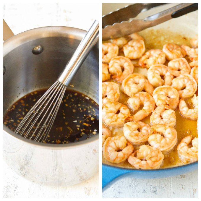 Sauce in saucepan with whisk. Cooked shrimp in large blue skillet.