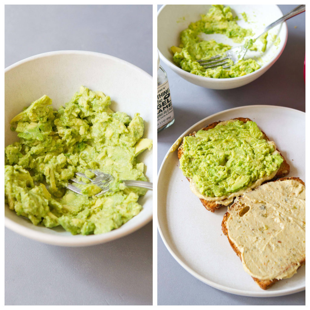 Mashed avocado in a white bowl and on toast