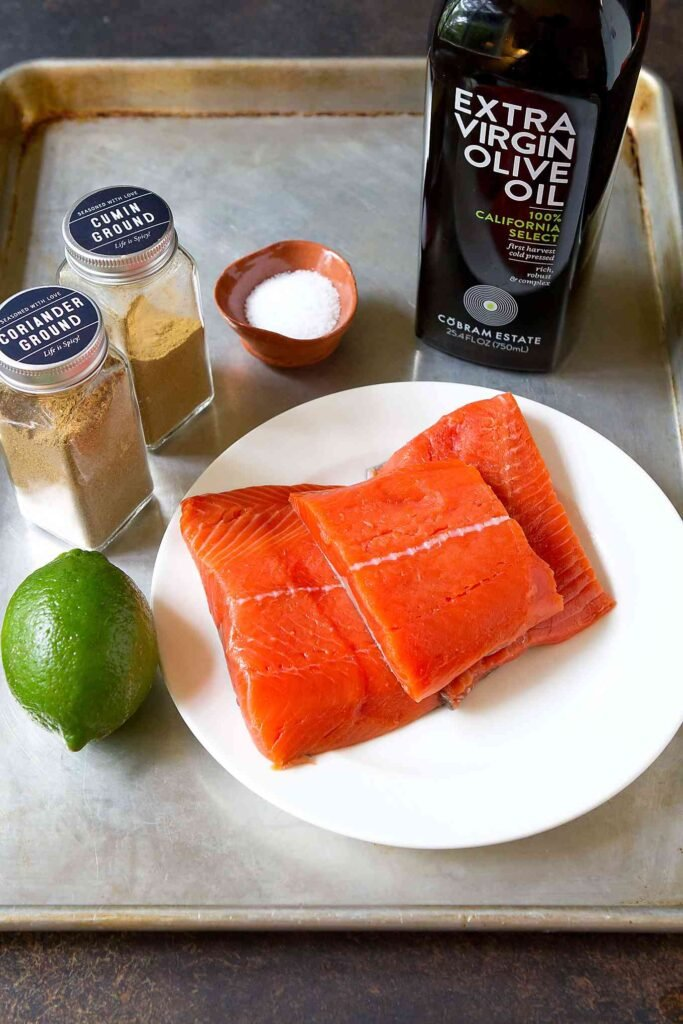 Ingredients for grilled salmon recipe.