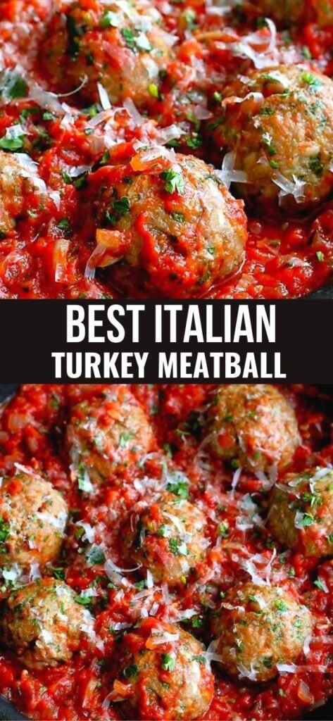 Meatballs are always a crowd pleaser. These baked Italian Turkey Meatballs happily wallow in a pan of homemade tomato sauce. 336 calories and 5 Weight Watchers SP | Baked