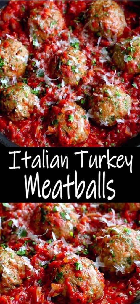 Meatballs are always a crowd pleaser. These baked Italian Turkey Meatballs happily wallow in a pan of homemade tomato sauce. 336 calories and 5 Weight Watchers SP | Baked | Healthy | Dinner