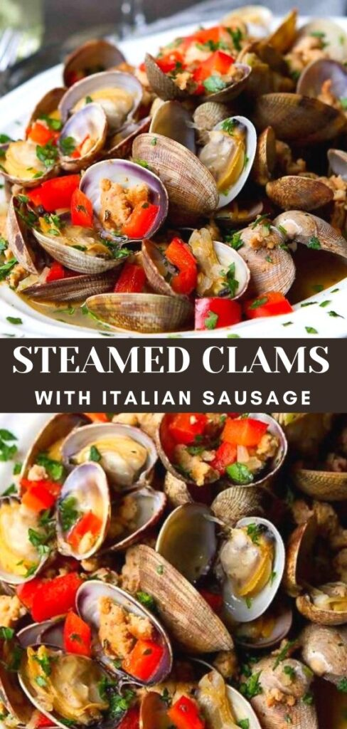 Steamed clams are fantastic for sharing as an appetizer. Serve with some crusty bread to dunk in the broth and scoop up the Italian sausage. 192 calories and 3 Weight Watchers SP | In white wine garlic | Recipes easy | Seafood