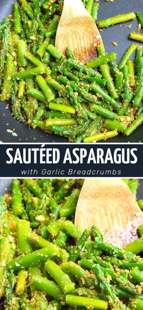 Sautéed asparagus gets all dressed up with some golden brown, crunchy garlic breadcrumbs! A delicious and easy vegetable side dish. 88 calories and 2 Weight Watchers SP | Recipes garlic | Vegan | Plant based
