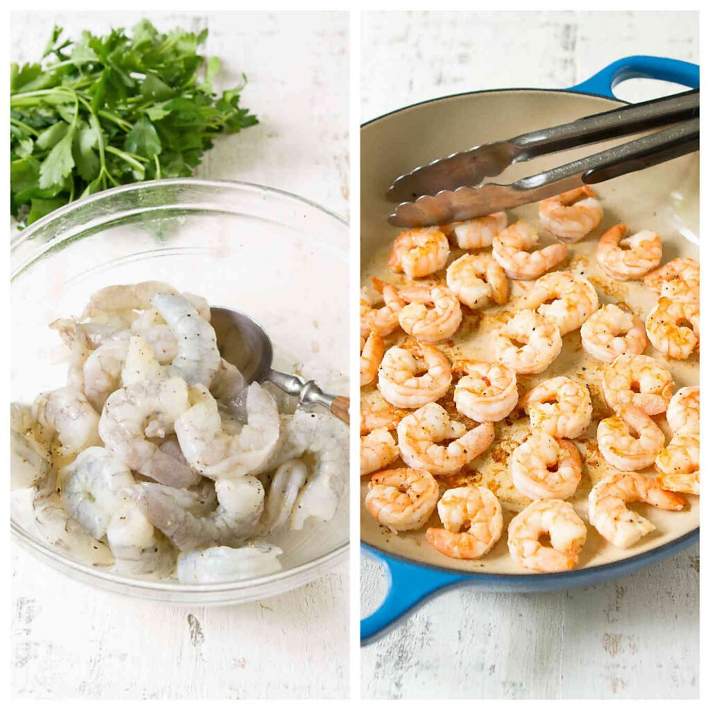 Raw shrimp in glass bowl and cooked shrimp in large skillet.