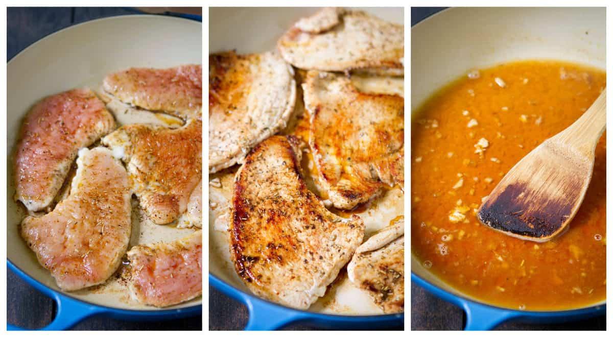 Turkey cutlets in pan, white wine sauce in pan.