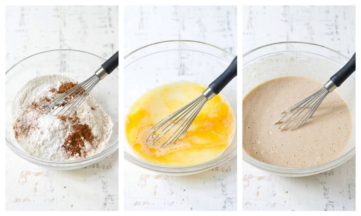 Collage of steps to making pancakes, ingredients in glass bowl.