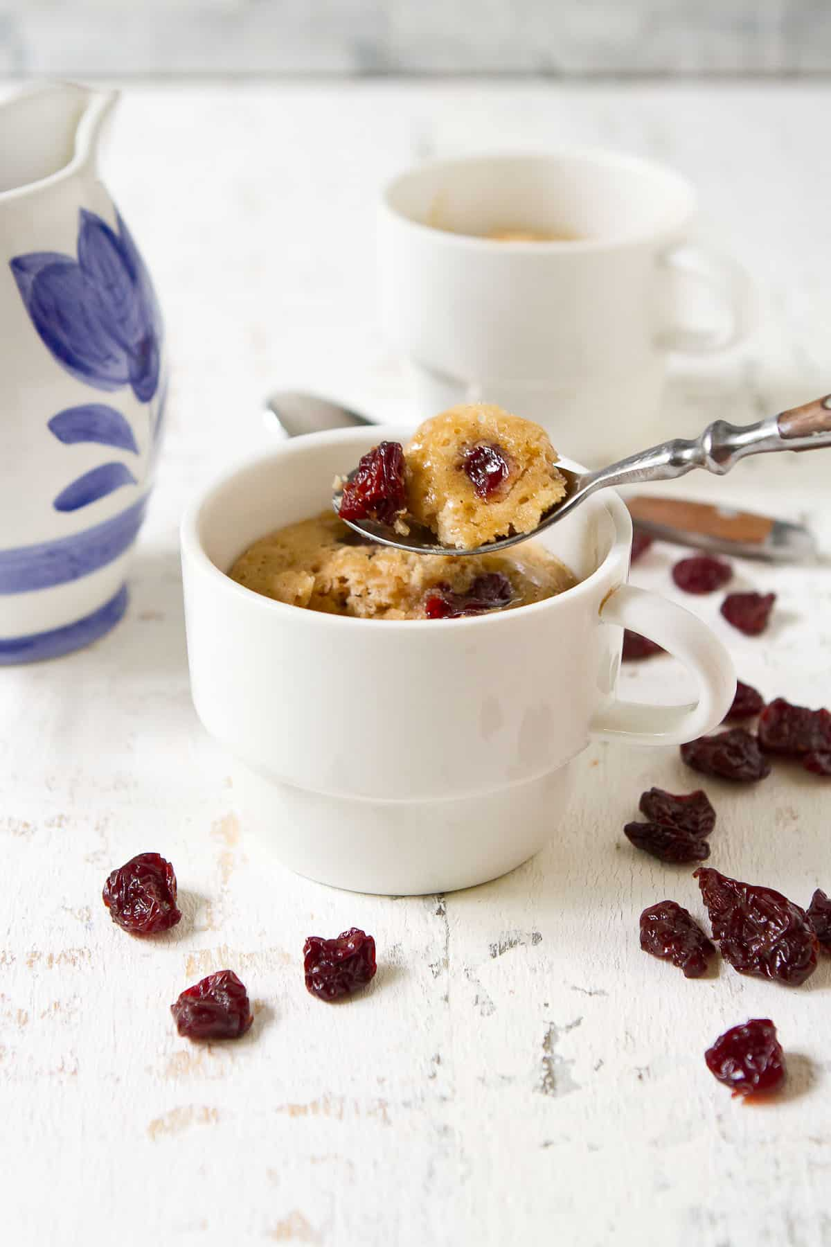 Pancakes in a mug just made healthy breakfasts a whole lot easier! And even better, they're packed with juicy, nutrient-rich Montmorency tart cherries. It's a win-win all round! | Breakfast easy | Breakfast quick | Make ahead | Microwave pancakes | Mug pancakes | From Scratch