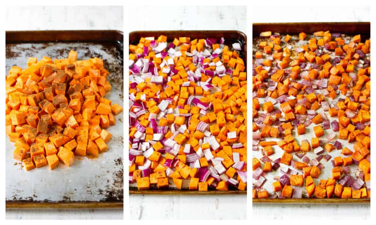 Collage of roasting sweet potatoes and onions on baking sheet.