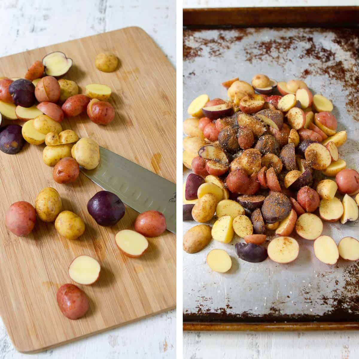 Slicing potatoes on a cutting board and pile of potatoes on a baking sheet.