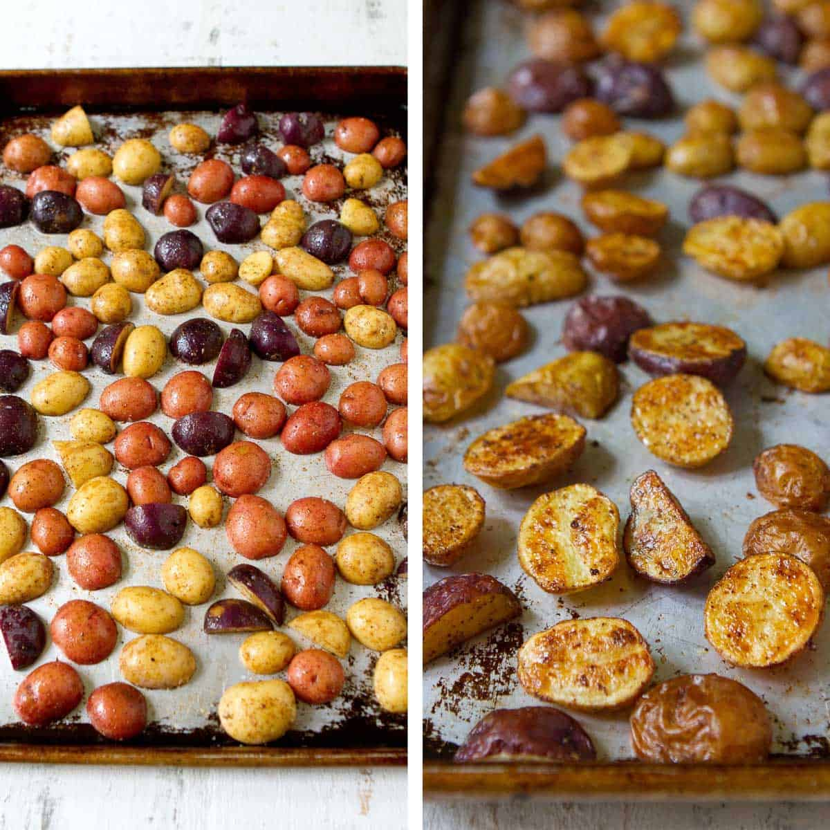 Raw potatoes and roasted mini potatoes on a baking sheet.
