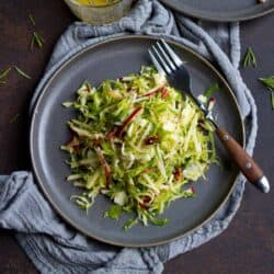 Apple and shredded Brussels sprouts slaw on gray plates, with gray napkin.