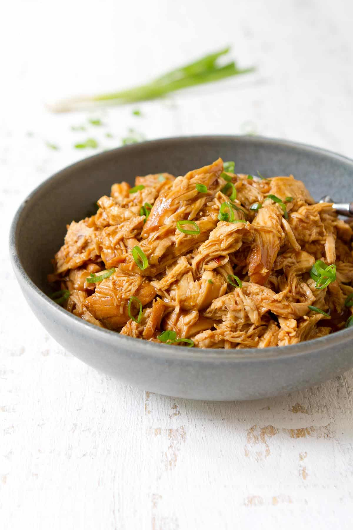 Bowl of hoisin shredded chicken, with green onions behind.