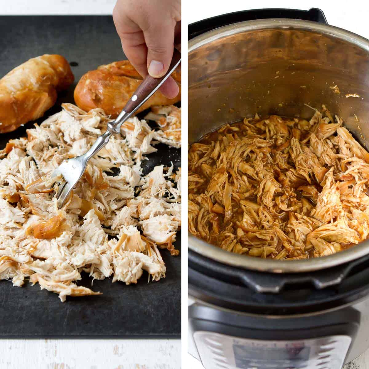 Collage of shredded chicken on cutting board and in Instant Pot with sauce.