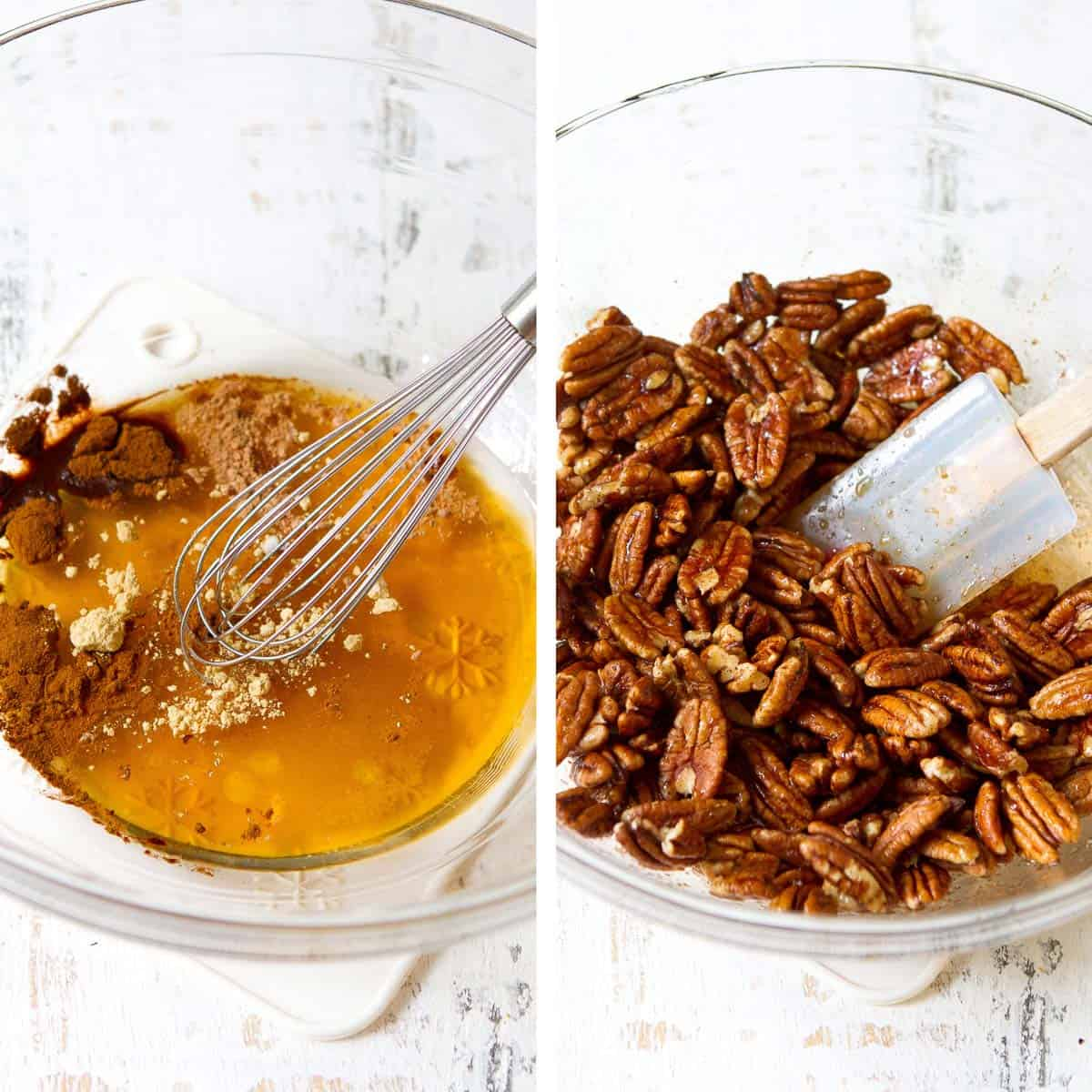 Collage. Whisking together maple syrup and spices, and stirring in pecans.