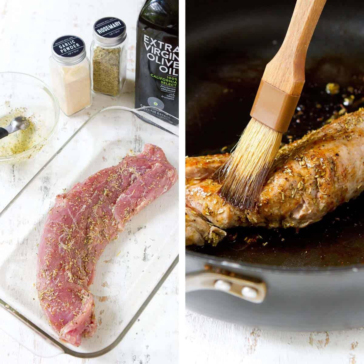 Pork tenderloin in a glass dish and in a black skillet.