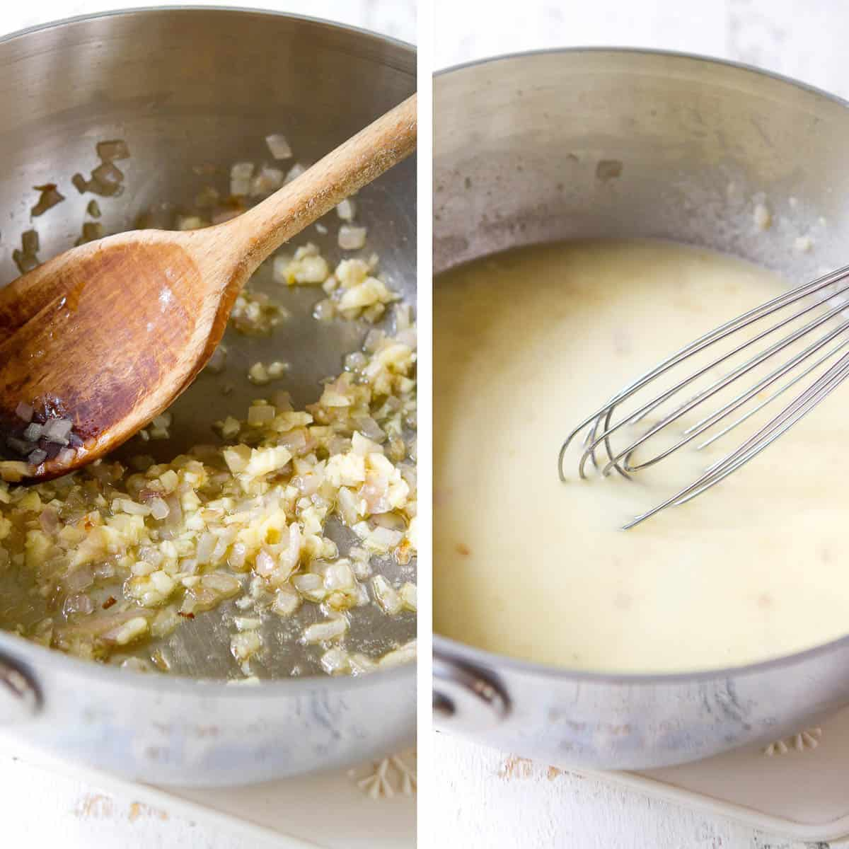 Collage of photos. Sautéed shallots and milk with whisk in small saucepan.