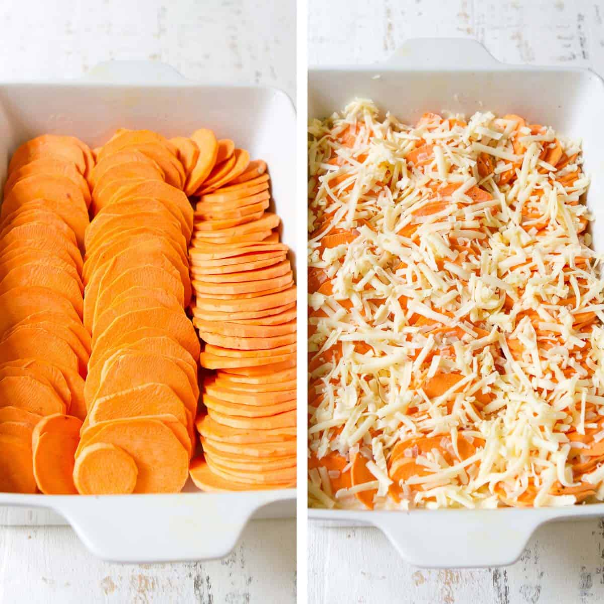 Sweet potato slices in rows, topped with grated cheese, in a large, white baking dish.