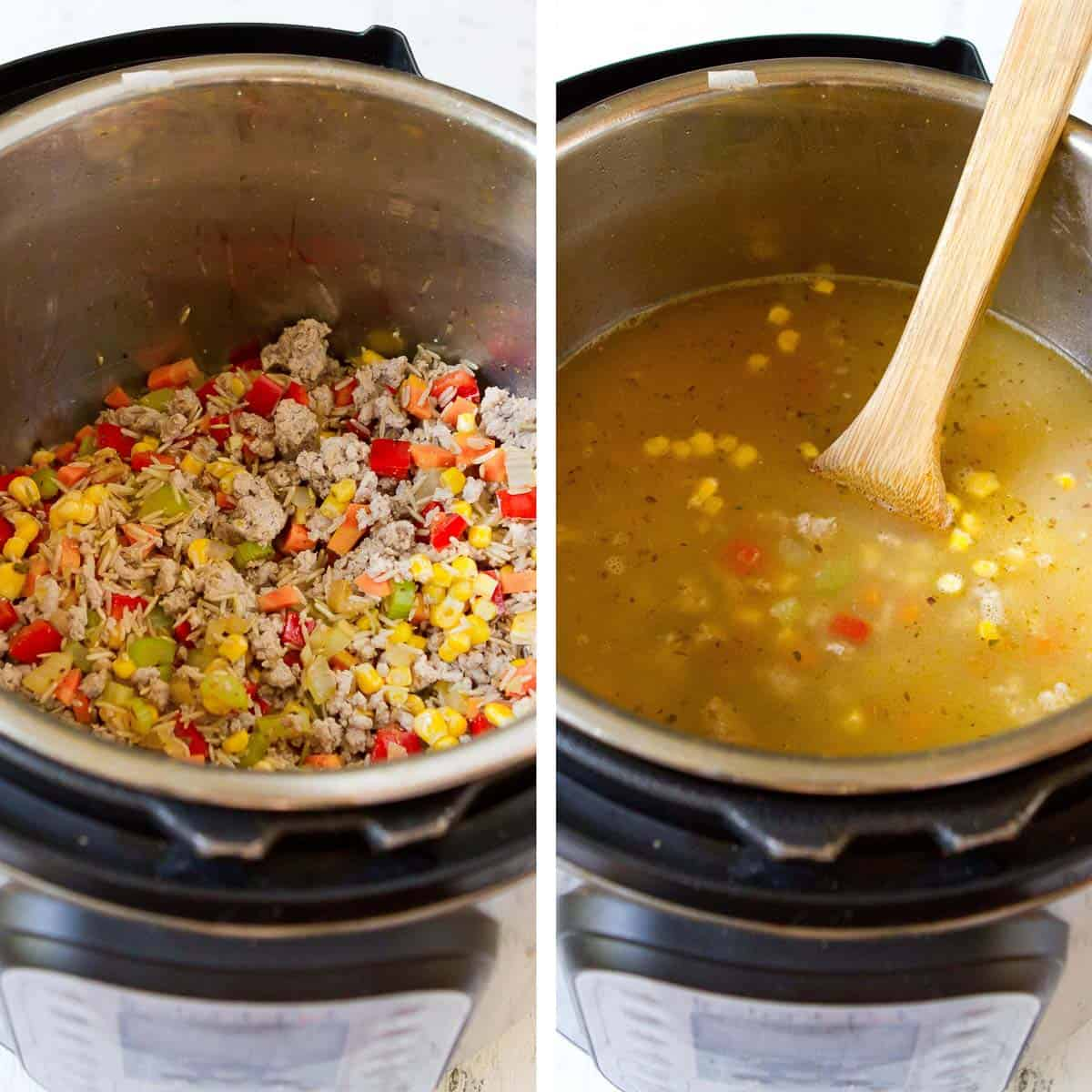 Ground turkey and vegetable mixture, plus broth mixture, in an Instant Pot.
