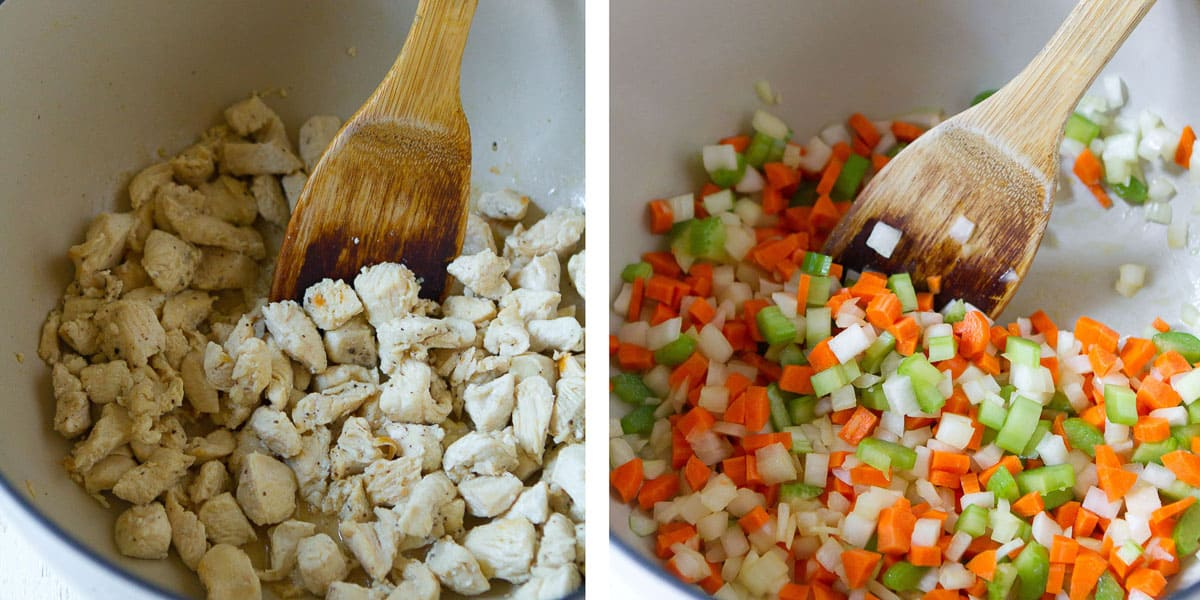Collage of cooked chicken pieces and vegetables cooking in a saucepan.