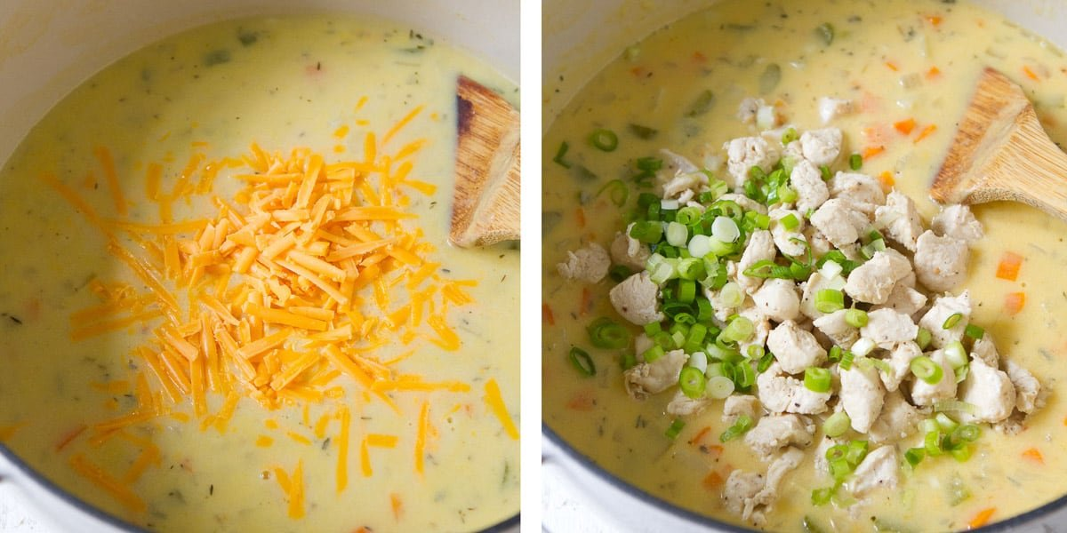 Collage of grated cheese and cooked chicken in a pot of chowder.