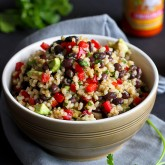 Brown Rice & Bean Salad Recipe with Chili Hot Sauce Dressing