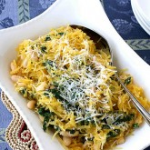 Spaghetti Squash Recipe with Spinach, Feta & Basil White Beans