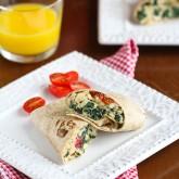 Scrambled Egg Wrap Recipe with Spinach, Tomato & Feta Cheese